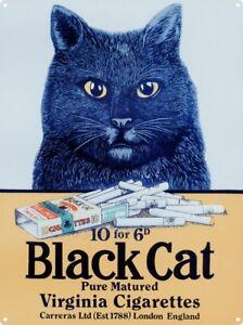 Tin Sign Virginia Cigarettes Black Cat 30 x 40cm