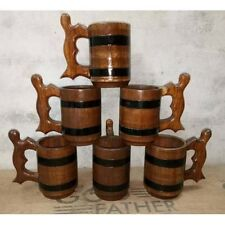 Wooden Tea Cups Wood Mug Handmade Barrel Juice Beer Cup Travel Oak 0.500L