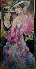 Yuri  DENISSOV - (Deux jeunes femmes aux chapeaux, aux verres), Huile sur toile.