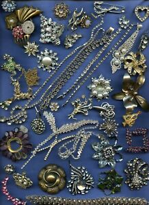 3Absolutely Broken Vintage Rhinestone Parts & Pieces for Crafts Parts not Repair