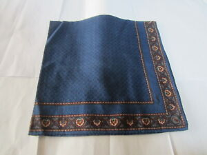 """USED NAVY BLUE  PAISLEY PATTERN COTTON 18"""" HANDKERCHIEF POCKET SQUARE FOR MEN"""
