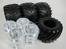 New Tamiya RC 1/10 Super Clodbuster Bullhead TXT set of 4 Tires + Rims Wheels