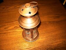 """5.5"""" Copper Hanging Lantern Candle Holder Hexagon Shaped with Etched Glass"""