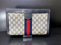 Authentic GUCCI Web Sherry Line Clutch Bag GG PVC Leather Navy Italy Y1359