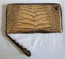 AMBROSI ABRIANNA Crocodile Clutch Wallet Bag Handbag | Metallic Gold / Black
