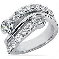 1.80 ct Right Hand Round Diamond Wedding Band 14K White Gold ring G Si1