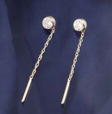 9ct Gold Round C/Z Pull Through Earrings.