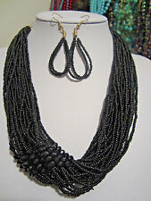 Multi Strand Black Glass seed Bead Faceted Glass Bead Necklace earring set