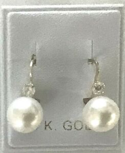 New 14k Gold 8mm Pearl w/ Dia  Euroback Earrings-Free Shipping!