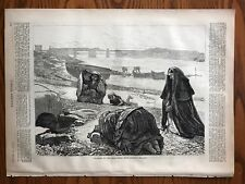 Pilgrims To The Holy Well Near Galway, Ireland.  Wood Engraving, 1871.
