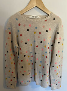 Girls H&M Spotty Jumper Top Age 8/9/10 Years