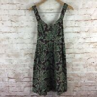 Tommy Hilfiger Womens Brown Green Paisley Sleeveless Dress Size Small