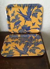 Vintage Decor Bird Blue Yellow Vanity Serving Desk Kitchen TRAYS