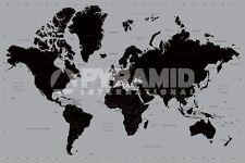 Poster Scuola Educativi Cartina Geografica Mappa del Mondo Nichel Style