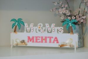 Beach Wedding Decoration, Mr and Mrs Sign, ANY SURNAME, Starfish and Shells Deco