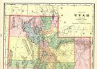 1902 Antique UTAH State Map Vintage Map of Utah George Cram Atlas Map 5871