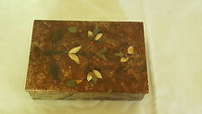Pietra dura Vintage Victorien Antique Grand Tour sculpté pierre bijou Box