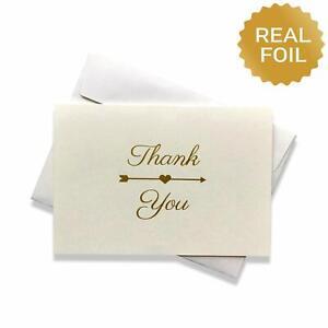 Gold Foil Heart & Arrow Thank You Cards w/ Envelopes 50 Bulk Blank Note Card Set