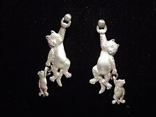 """JJ"" Jonette Jewelry Silver Pewter 'Hanging CAT w/Toy' Dangle Earrings"
