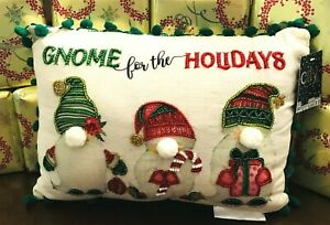 Holiday **GNOME FOR THE HOLIDAYS** Beaded trim Christmas PILLOW 10x14 NWT