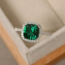 14K White Gold 2.70 Ct Cushion Cut Natural Diamond Real Emerald Ring Size N M O
