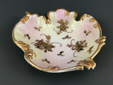 Antique pink & green on white with gold porcelain candy / nut dish 1890's 1900's