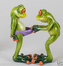 ☼ Formano Frosch Paar Blick in die Hose Kunststein hellgrün glänzend 717719