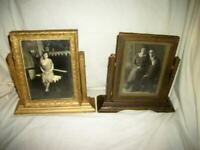 ANTIQUE GOLD WOOD SWING FRAME PAIR 1920's ORIGINAL PHOTOGRAPHS ART DECO ERA