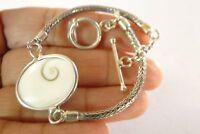 Shiva Eye Sea Shell Seashell Solitaire 925 Sterling Silver Bracelet