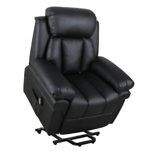 Electric Reclining Armchair Stand-Assist Faux Leather Padded Seat Sleeper Black