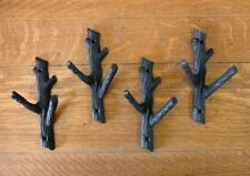"4 BROWN 7.75"" TALL TREE TRUNK BRANCH TWIG DOUBLE WALL HOOKS RUSTIC CAST IRON"