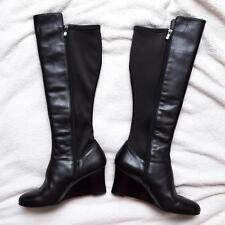 NWD Umberto Raffini Joelle Black Leather Wedge Knee High Boots $258 EU40