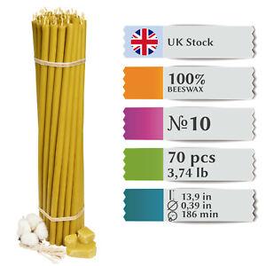 "70x Pure 100% Beeswax Diveevo Taper Candles ""Saint Sarov"" 13.9in Church N10 | UK"