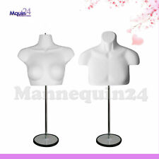 Male Amp Female Mannequin Torso Set With 2 Stands 2 Hangers White Body Forms