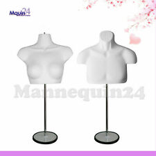 Male & Female Mannequin Torso Set with 2 Stands + 2 Hangers -White Body Forms
