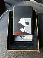Vintage Marlboro Man Zippo Lighter black un-fired un-struck no seal on back