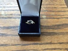 Beautiful Vintage 18ct Gold & Platinum Sapphire & Diamond Crossover Ring Size M