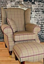 Wing Back Fireside Cottage Armchair -  Bamburgh Brown Check Footstool + Cushion