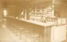 RPPC Lunch Counter Interior Blatz Grape Yucatan Gum Signs 1910s Vintage Postcard