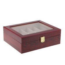 10 Slots Red Solid Wood Glass Collect Watch Rings Display Storage Box Case