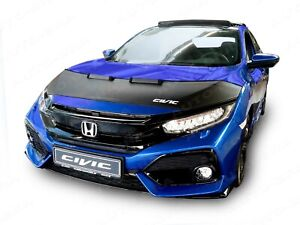 BONNET BRA fits Civic 10 FC/FK 2015- WITH EMBROIDERED WHITE LOGO STONEGUARD