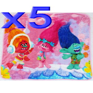 5pc Wholesale All Season Kids Fur Fleece Trolls Blanket Polar Throw Soft