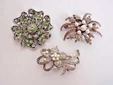 """Vintage Pin Lot 3 Brooches Floral Green Pink Silver Aurora Borealis Crystals 2"""""""