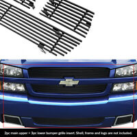 APS Compatible with 1978-1981 Chevy Camaro Stainless Steel Black Billet Grille Combo N19-J43018C
