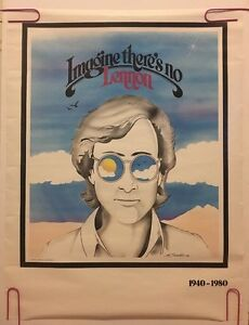original vintage poster Imagine There's No Lennon The Beatles pin-up glasses *80