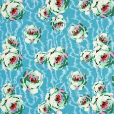 OOP HAPI flowing buds turquoise pwab119 by Amy Butler. cotton fabric