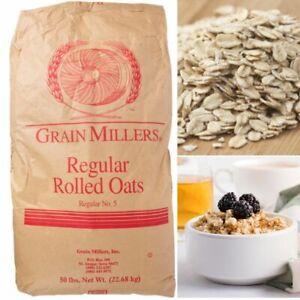 50 LB BAG REGULAR ROLLED OATS Breakfast Pantry Bulk Food Supply Kilned Kosher