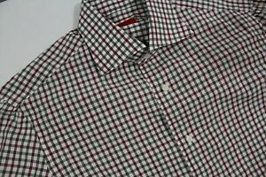 ISAIA NAPOLI 39 15 ½ 34 MEN'S COTTON SPORT FIT SHIRT MADE IN ITALY RED BROWN PLA