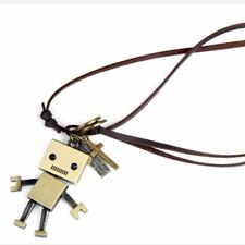 Vintage Square Robot Leather Rope Necklace Pendant Gift