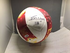 Andres Iniesta Signed Team Spain Adidas Soccer Ball Beckett Witnessed COA 1A